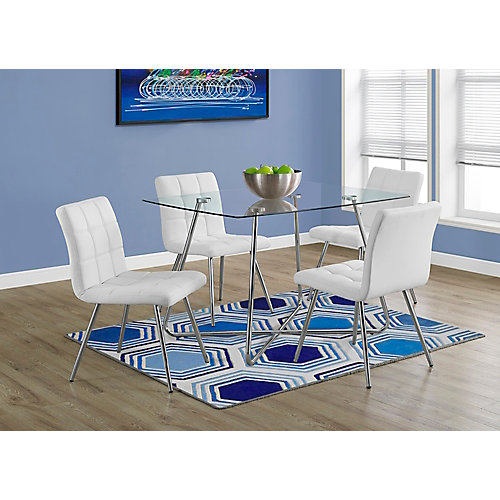 Dining Table - 36 Inch X 48 Inch  / Chrome With 8mm Tempered Glass