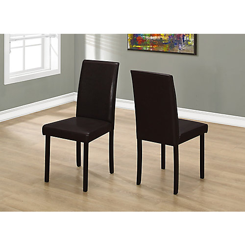 Solid Wood Brown Parsons Armless Dining Chairs wth Dark Brown Faux Leather Seats (Set of 2)