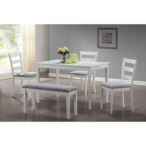 Ens Salle à Manger - 5 Pcs / Blanc avec Banc et 3 Chaises