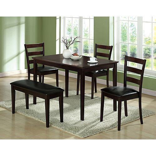 Monarch Specialties Dining Set - 5-Pieces Set / Cappuccino Bench & 3 Side Chairs