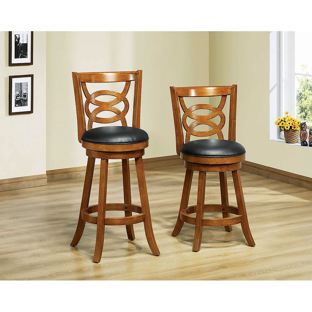 Monarch Specialties Solid Wood Oak Full Back Armless Bar Stool with Black Faux Leather Seat - (Set of 2)