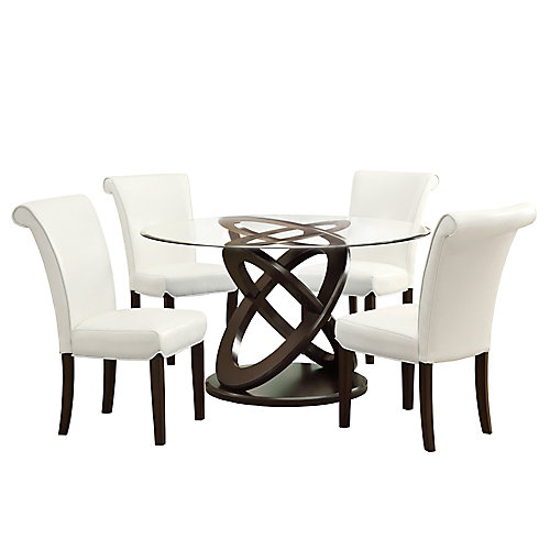 48-inch Dia Round Dining Table in Espresso with Tempered Glass Top