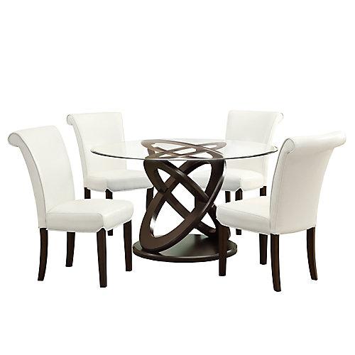 Table A Manger - 48 po Dia / Espresso Foncé / Verre Trempe