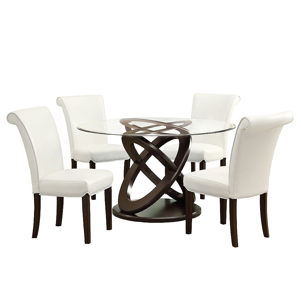 Monarch Specialties 48 Inch Dia Round Dining Table In Espresso With Tempered Glass Top The Home Depot Canada