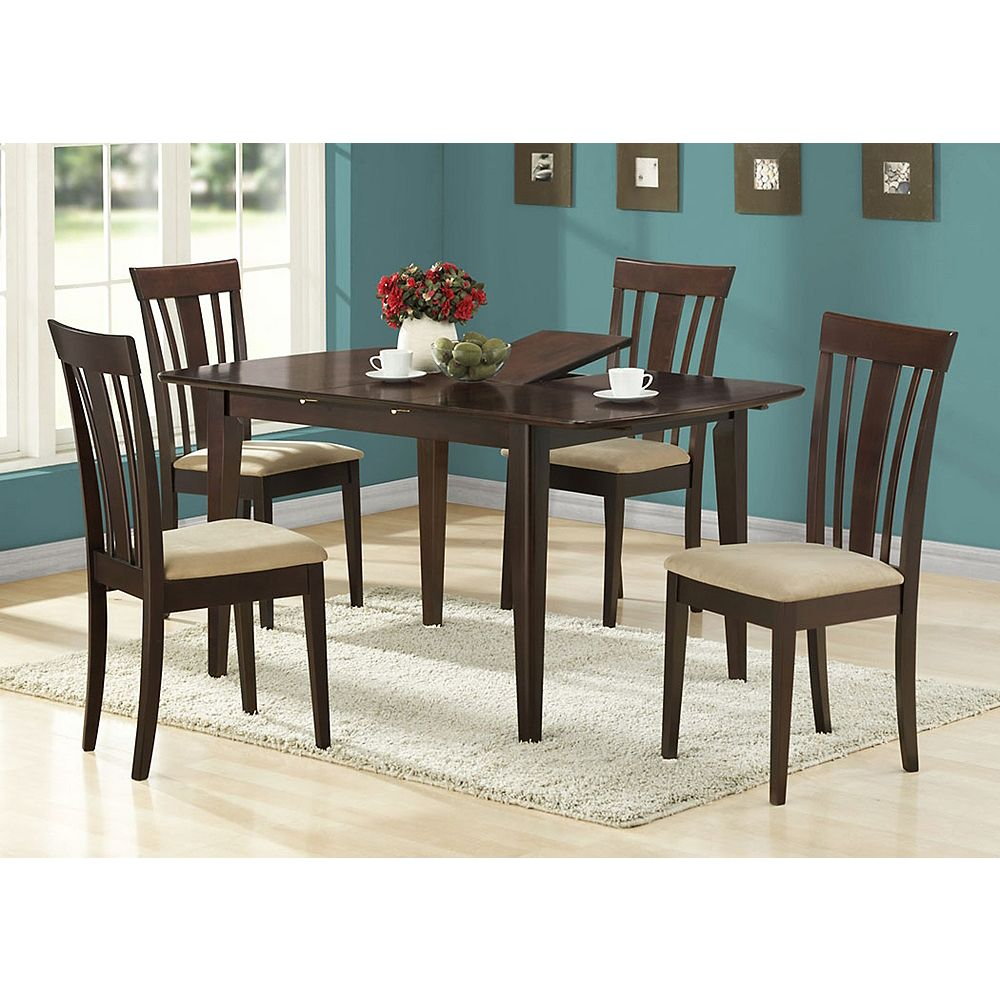 Monarch Specialties Dining Table 36 Inch X 48 Inch X 60 Inch Cappuccino With A Leaf The Home Depot Canada