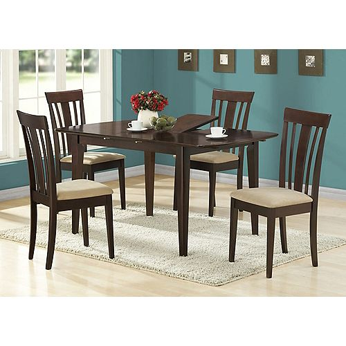 Dining Table - 36 Inch X 48 Inch  X 60 Inch  /  Cappuccino With A Leaf