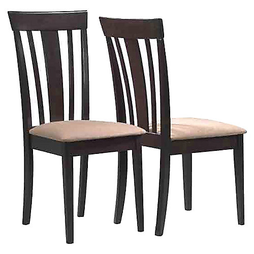 Solid Wood Brown Slat Back Armless Dining Chair with Beige Microfibre Seat (Set of 2)