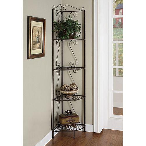 4-Shelf Metal Bookcase in Brown