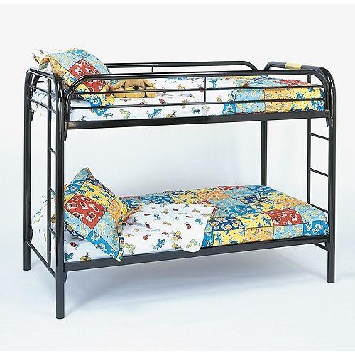 Bunk Bed - Twin / Twin Size / Black Metal