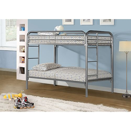 Monarch Specialties Bunk Bed - Twin / Twin Size / Silver Metal