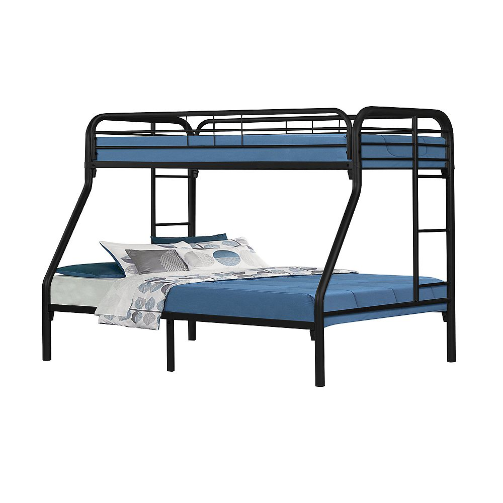 Monarch Specialties Bunk Bed Twin Full Size Black Metal The Home Depot Canada
