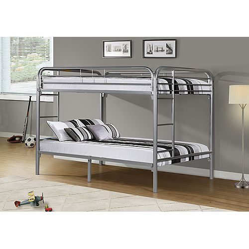 Monarch Specialties Bunk Bed - Full / Full Size / Silver Metal