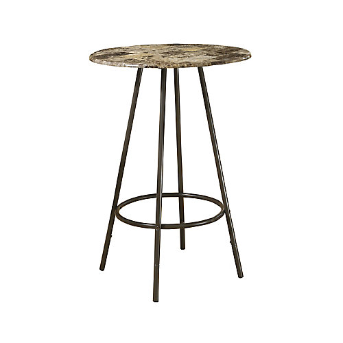 Home Bar - 30 Inch Dia / Cappuccino Marble / Coffee Metal