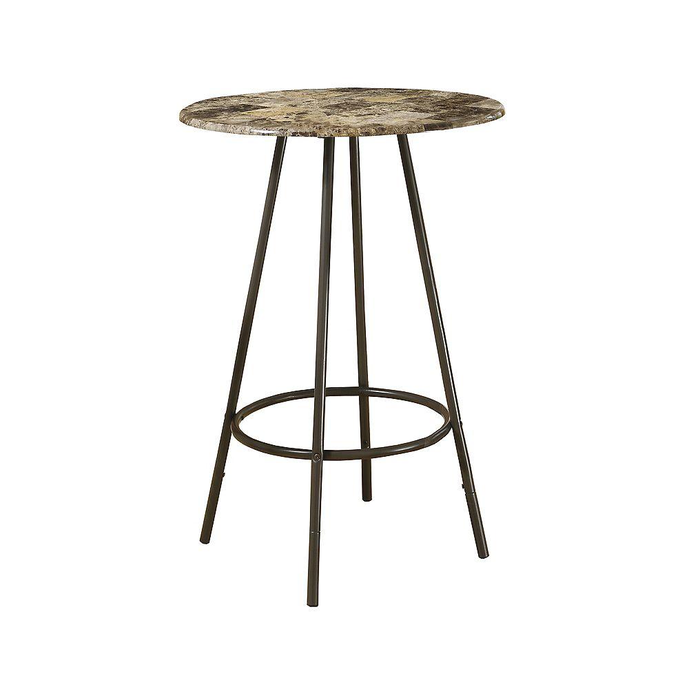 Monarch Specialties Home Bar - 30 Inch Dia / Cappuccino Marble / Coffee Metal