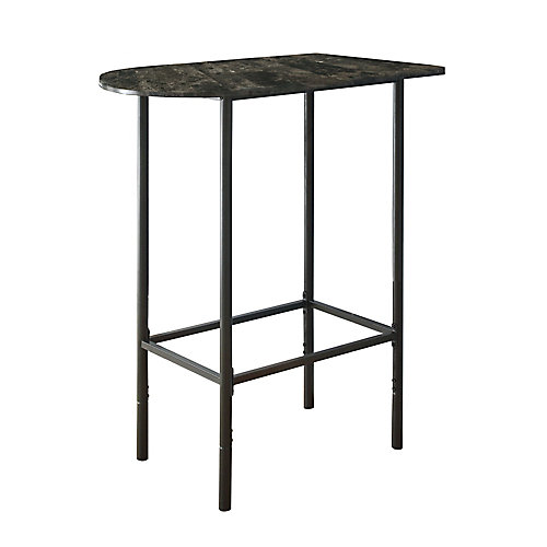 Home Bar - 24 Inch X 36 Inch  / Grey Marble / Charcoal Metal