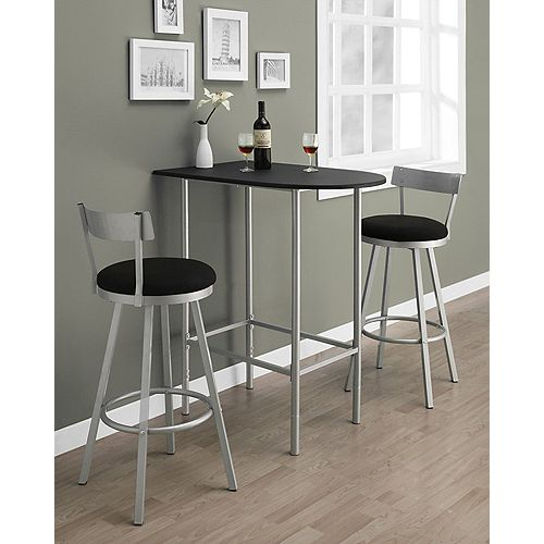 Metal Silver Low Back Armless Bar Stool with Black Seat (Set of 2)