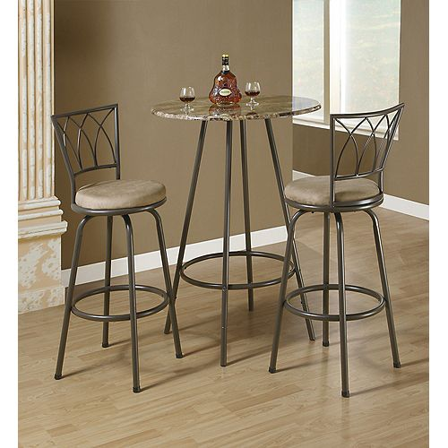 Monarch Specialties Metal Brown Full Back Armless Bar Stool with Beige Microfibre Seat (Set of 2)