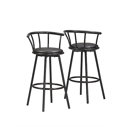Metal Black Low Back Armless Bar Stool with Black Faux Leather Seat (Set of 2)
