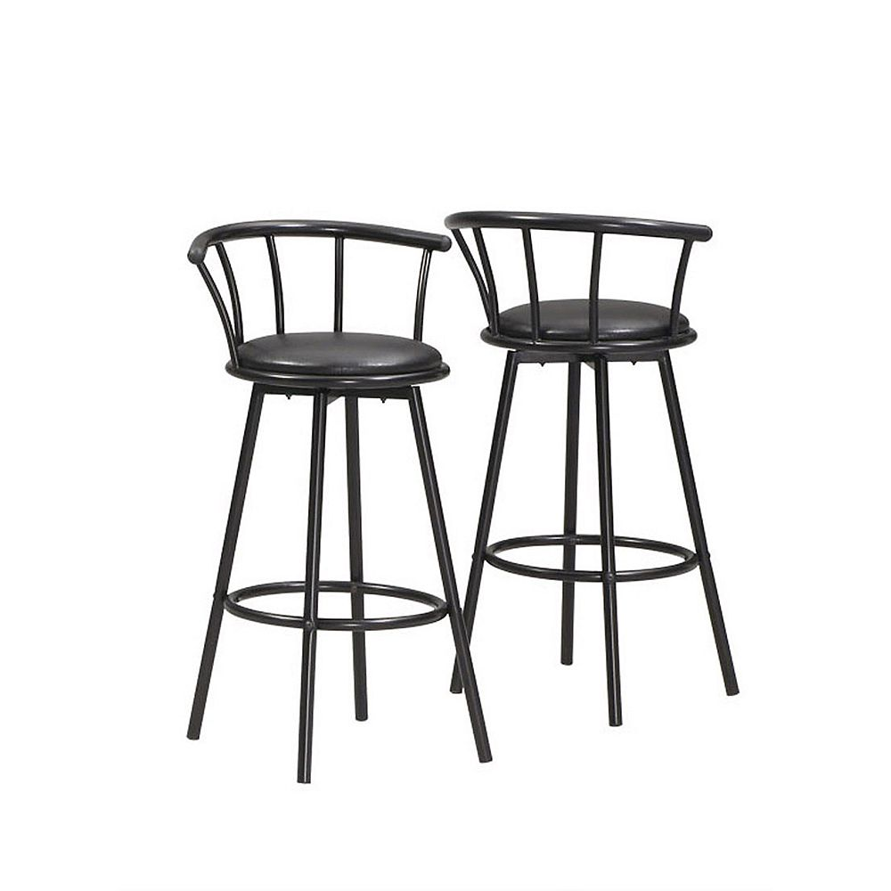 Monarch Specialties Metal Black Low Back Armless Bar Stool with Black Faux Leather Seat (Set of 2)