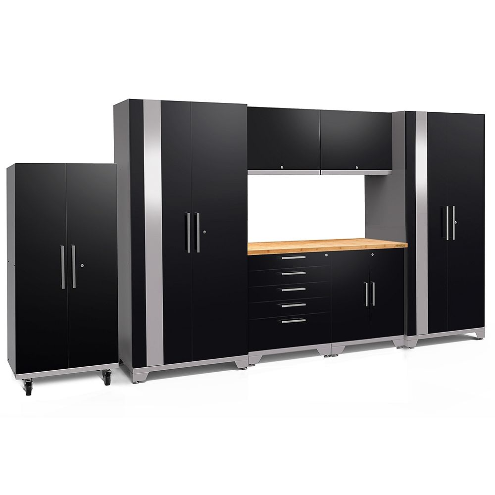 NewAge Products Inc. Performance Plus 2.0 Steel Garage Cabinet Set in Black (8-Piece) with Bamboo Worktop