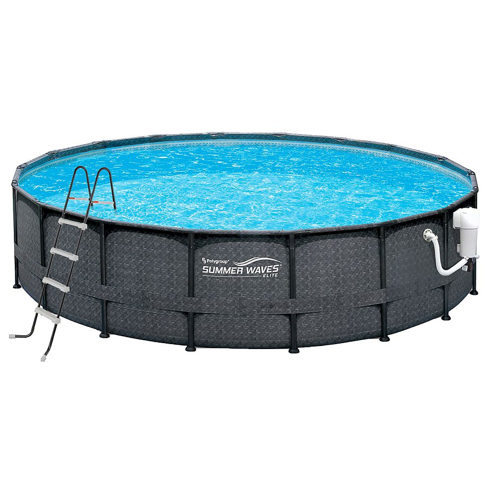 Summer Waves Elite 18 Ft Dia X 52 Inch D Round Metal Frame Pool Package In Dark Wicker The Home Depot Canada