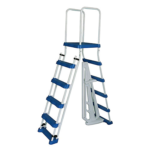 52-inch A-Frame Ladder w/ Safety Barrier and Removable Steps for Above Ground Pools