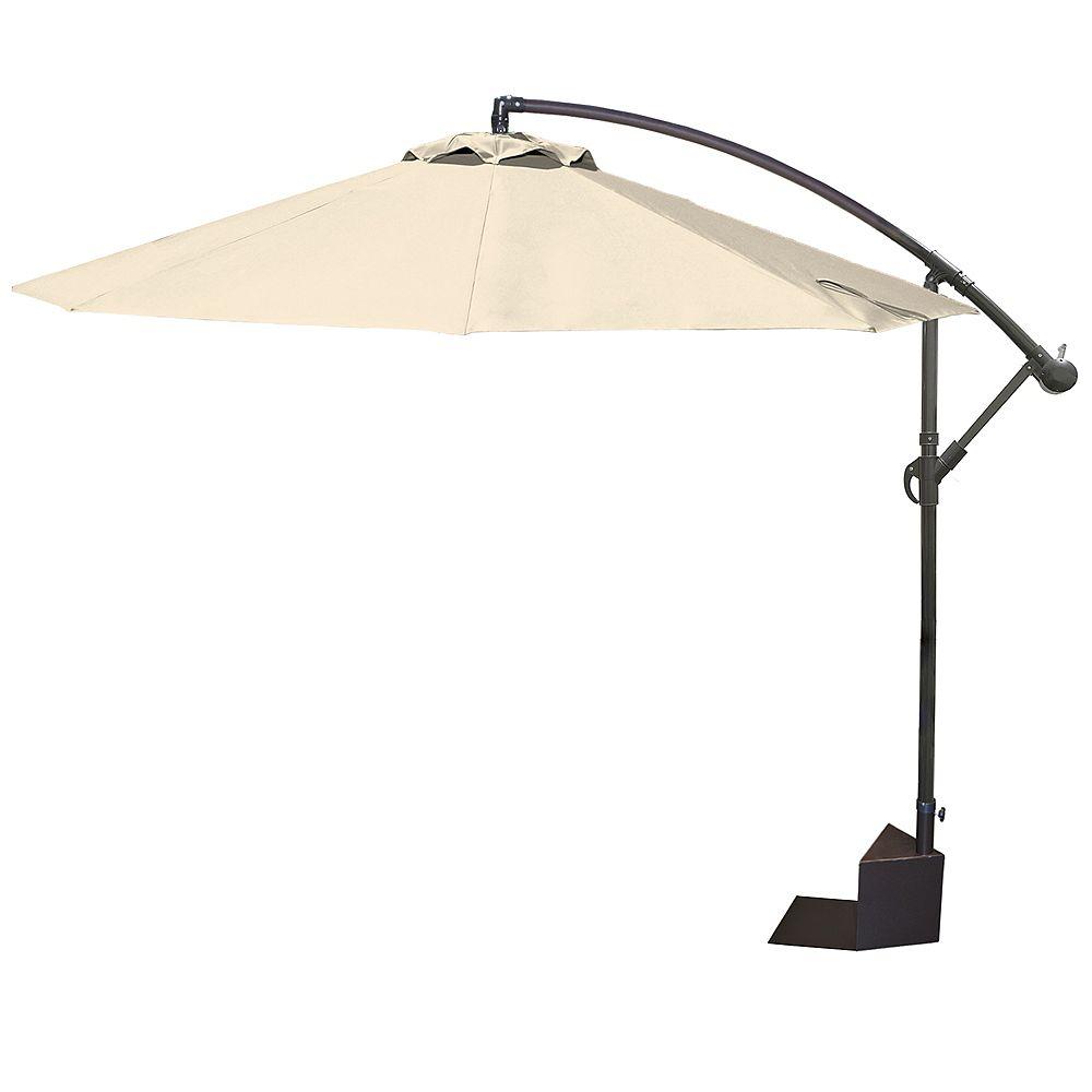 Island Umbrella Parasol Santiago en porte-à-faux de 3 m (10 pi) pour spa en toile oléfinique de couleur champagne