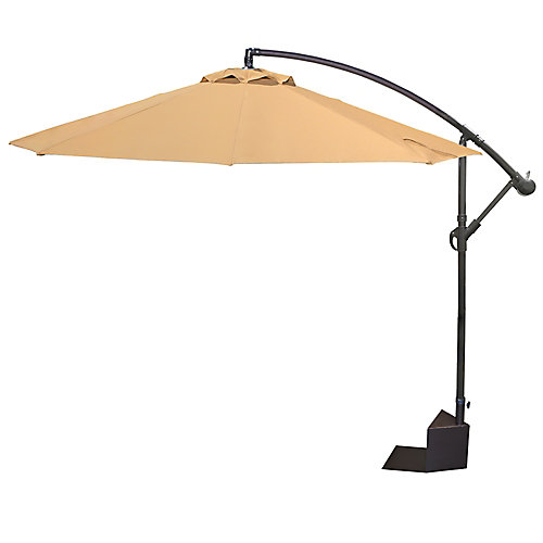 Santiago 10-feet Octagonal Cantilever Spa Side Patio Umbrella in Stone Olefin
