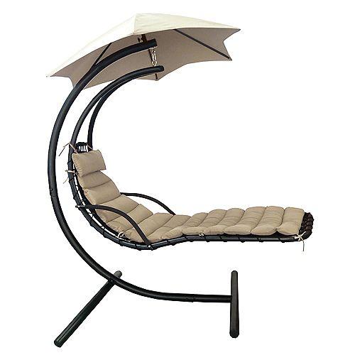 Chaise suspendue Island Retreat avec canopée pour l'ombre en toile Khaki