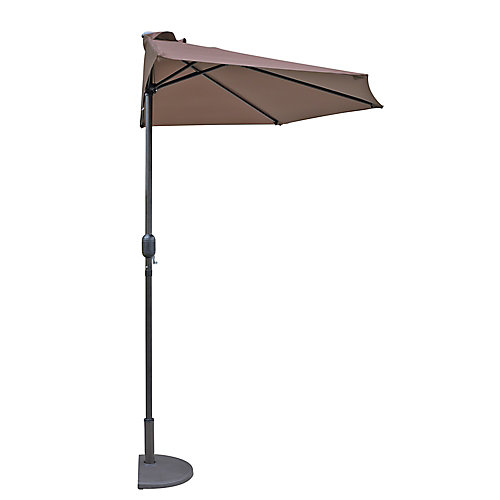 Lanai 9 ft. Half Umbrella in Coffee Polyester