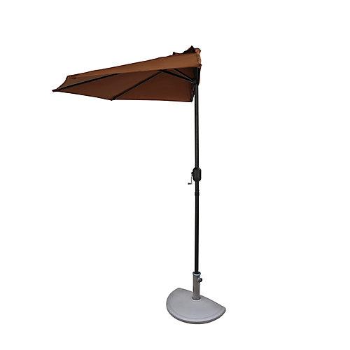 Demi-parasol Lanai de 2,74 m (9 pi) en polyester couleur café
