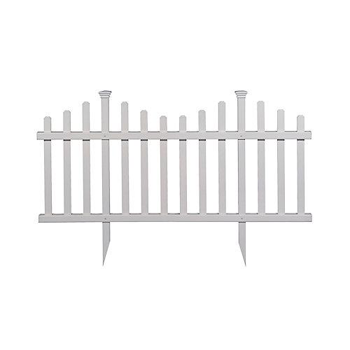 Madison 2.5 ft. x 5 ft. No-Dig Vinyl Garden Picket Fence Panel Kit