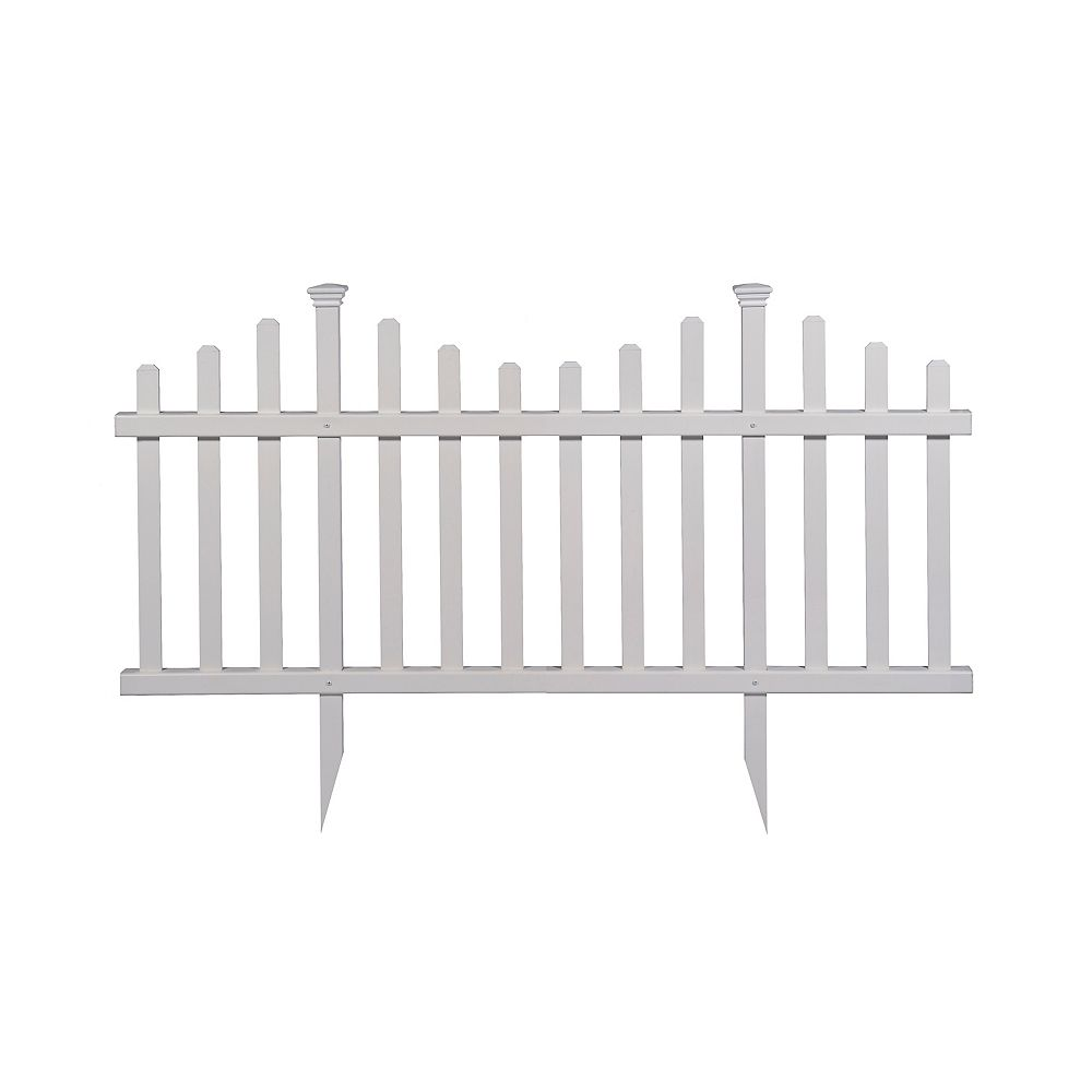Zippity Outdoor Products Madison 2.5 ft. x 5 ft. No-Dig Vinyl Garden Picket Fence Panel Kit