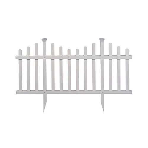 Madison 2.5 ft. x 5 ft. No-Dig Vinyl Garden Picket Fence Panel Kit