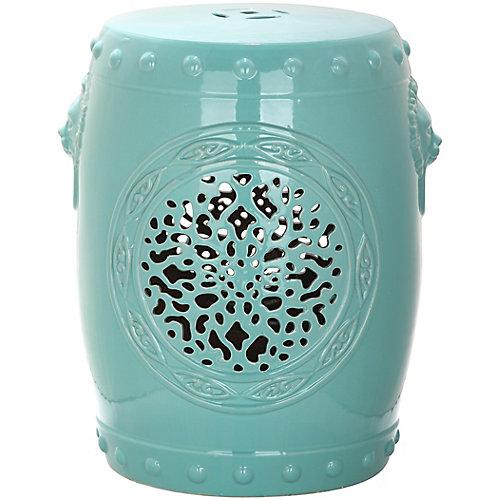 Tabouret de Jardin Tambour Fleur en finition Bleu-clair Gentil