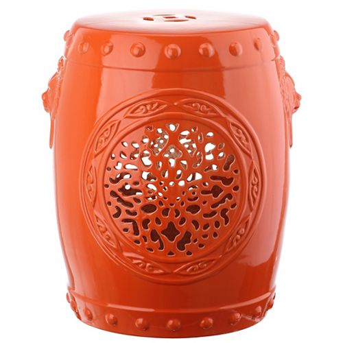 Flower Drum Garden Stool in Orange