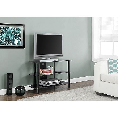 Tv Stand - 36 Inch L / Black Metal With Tempered Black Glass