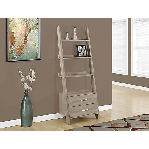 4-Shelf Manufactured Wood Ladder Bookcase in Beige