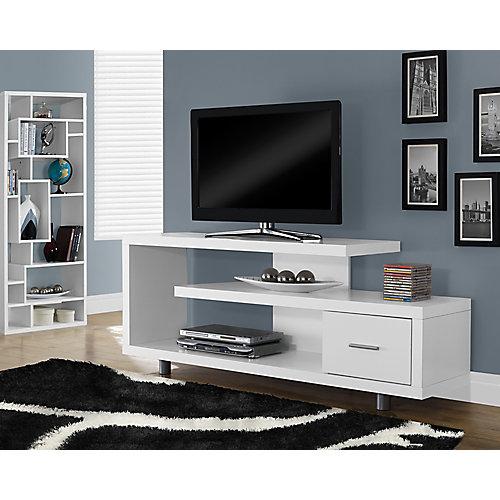 Meuble TV - 60 po L / Blanc avec 1 Tiroir
