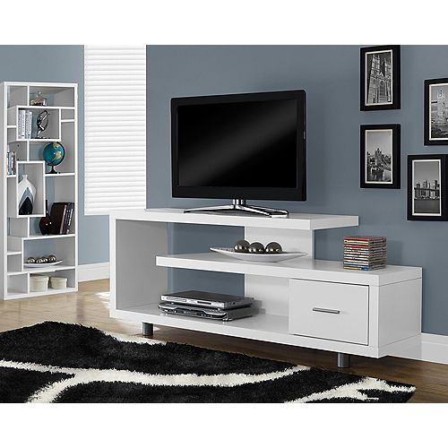 60-inch L Single Drawer TV Stand in White