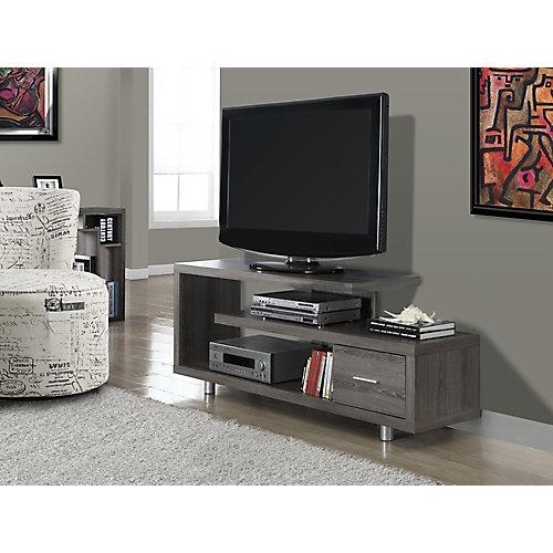 Meuble TV - 60 po L / Taupe Foncé avec 1 Tiroir