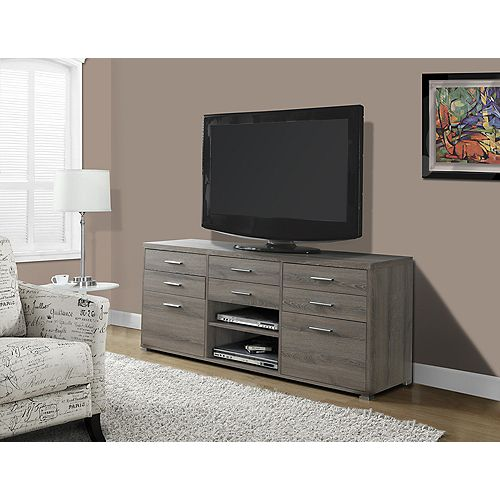 Tv Stand - 60 Inch L / Dark Taupe With 8 Drawers