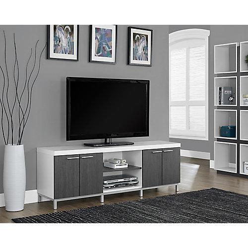 Meuble TV - 60 po L / Blanc / Gris