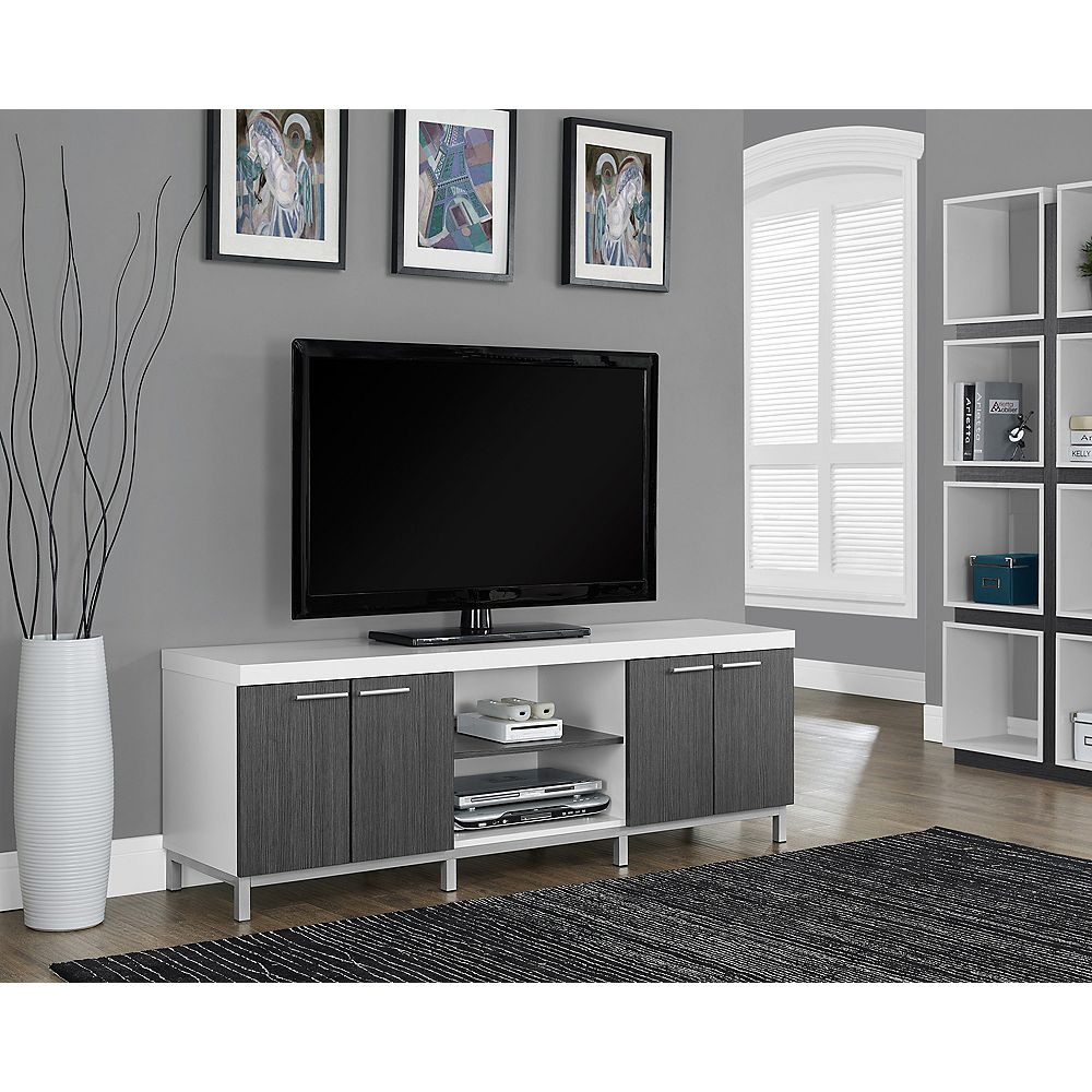 Monarch Specialties Tv Stand - 60 Inch L / White / Grey