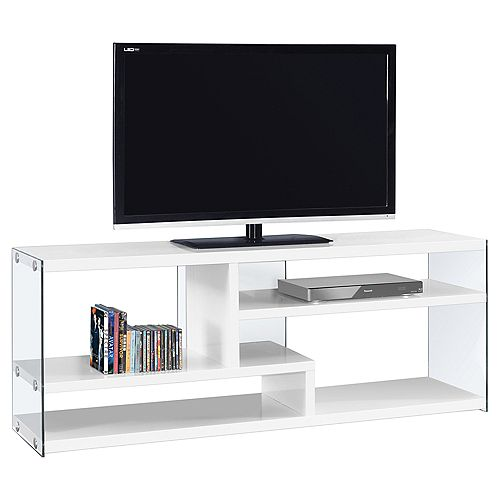 Tv Stand - 60 Inch L / Glossy White With Tempered Glass
