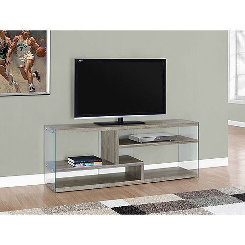 Tv Stand - 60 Inch L / Dark Taupe With Tempered Glass