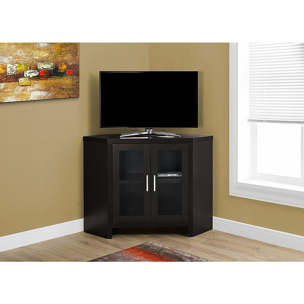 Monarch Specialties Tv Stand - 42 Inch L / Cappuccino Corner With Glass Doors