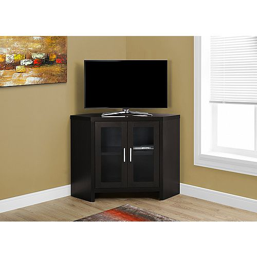 Tv Stand - 42 Inch L / Cappuccino Corner With Glass Doors