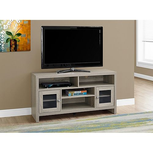 Monarch Specialties Tv Stand - 48 Inch L / Dark Taupe With Glass Doors