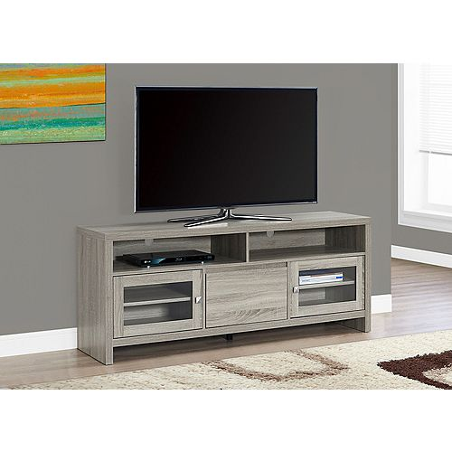 Tv Stand - 60 Inch L / Dark Taupe With Glass Doors
